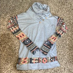 Grey and Aztec Cowl Neck Sweater